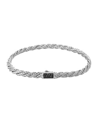 Classic Chain Slim Twisted Lava Bracelet, Size M
