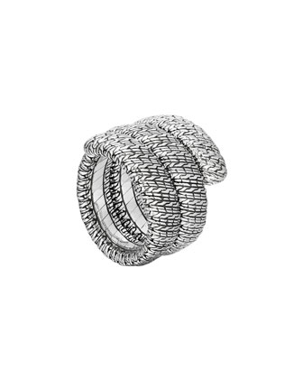 Classic Chain Silver Double Coil Ring, Size 7