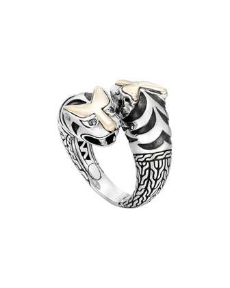 Classic Chain Macan Double Head Ring, Size 7