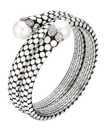 Dot Pearl & Diamond Double Coil Bracelet