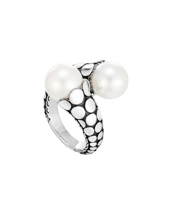 Dot Silver Toi Moi Pearl Ring, Size 7