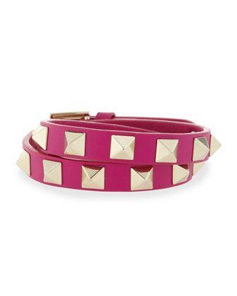 Double-Wrap Leather Rockstud Bracelet
