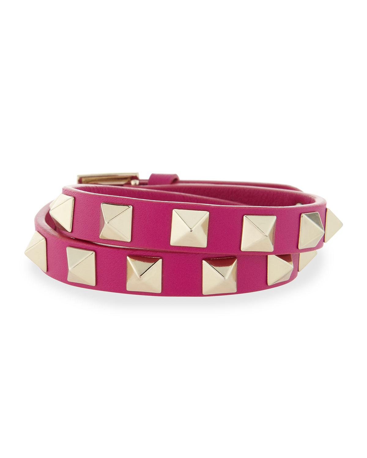 Double-Wrap Leather Rockstud Bracelet - Valentino