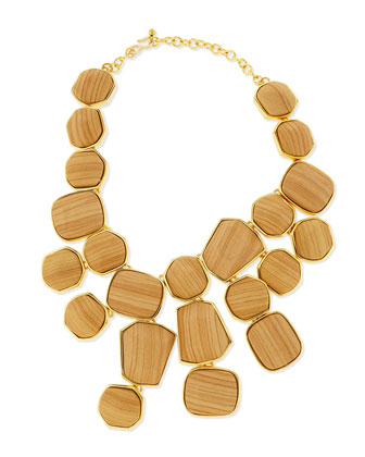 Wood & Golden Bib Necklace