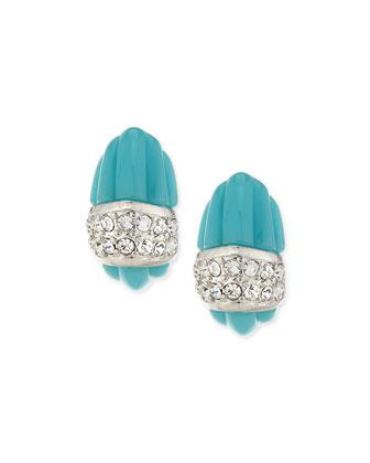 Turquoise Resin Half-Hoop Earrings