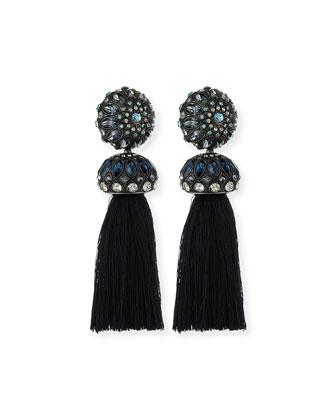 Crystal-Detailed Tassel Earrings