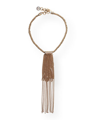 Golden Fringe Long Pendant Necklace