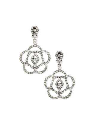 Pave Crystal Flower Clip-On Earrings