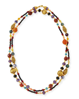 Gold-Plated Ornate Beaded Necklace