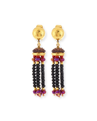 Crystal Tassel Clip-On Earrings