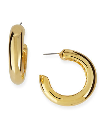 Yellow Gold-Plated Clip-On Hoop Earrings