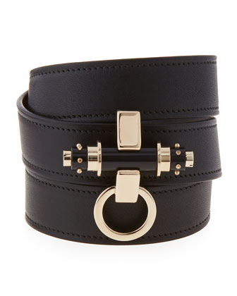 Obsedia Triple-Wrap Leather Bracelet, Black
