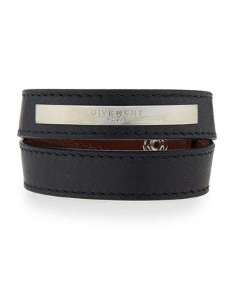 Logo Plaque Leather Wrap Bracelet