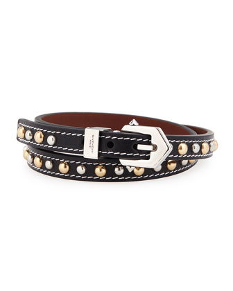 Studded Leather Buckle Wrap Bracelet, Black
