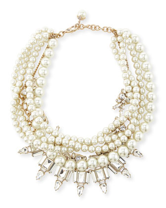 Lustre Multi-Strand Statement Necklace & Lustre Glass-Pearl Earrings