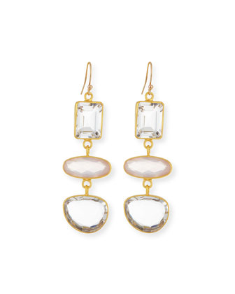 Triple-Quartz Drop Earrings