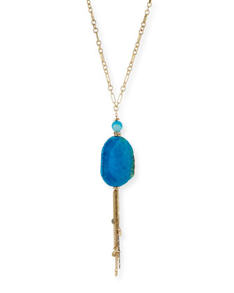 Blue Agate Long Tassel Necklace, 29