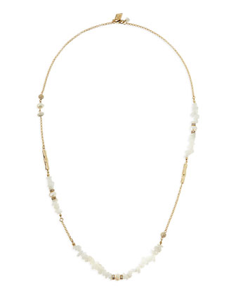White Agate & Pearl Long Necklace