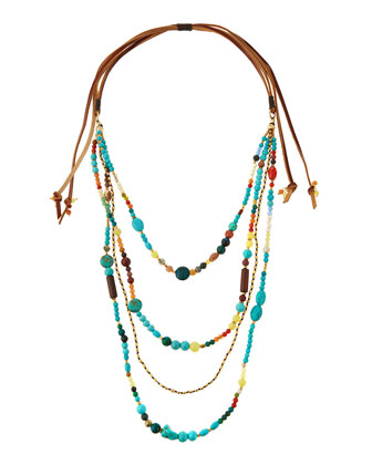 Beaded Multi-Strand Tie Necklace