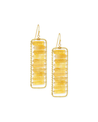 Agate Rectangle Drop Earrings