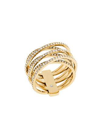 Pave Crisscross Band Ring