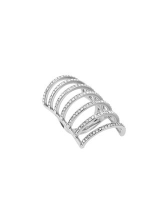 Silvertone Pave Cage Ring