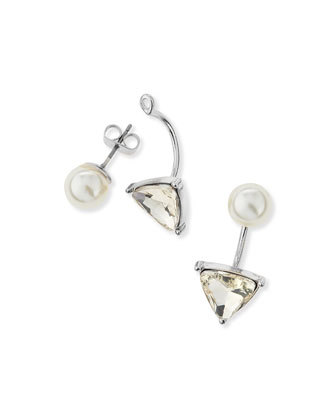 Triangle Crystal & Pearly Jacket Earrings