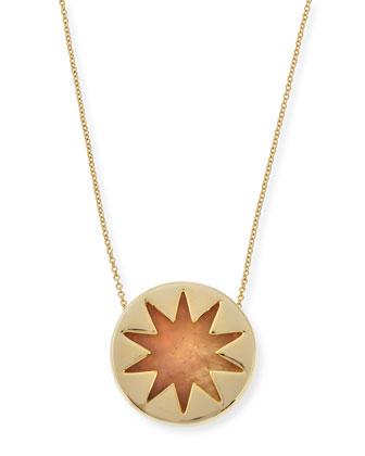 Mini Sunburst Rose Quartz Pendant Necklace