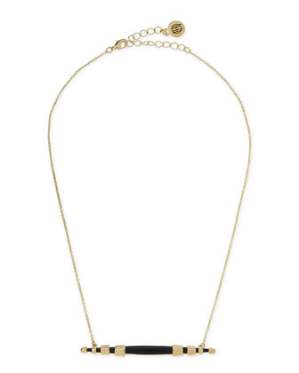Rift Valley Horizontal Pendant Necklace, Black