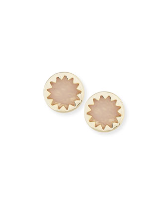 Sunburst Rose Quartz Stud Earrings