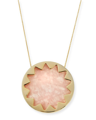 Large Sunburst Rose Quartz Pendant Necklace