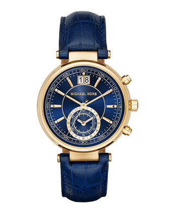 39mm Sawyer Leather Strap Watch, Navy
