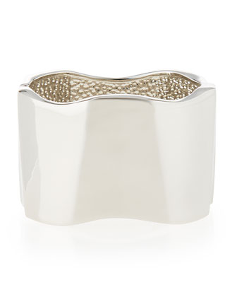 Rhodium-Plated Geometric Wide Cuff