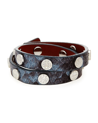 Snake-Print Leather Double-Wrap Bracelet