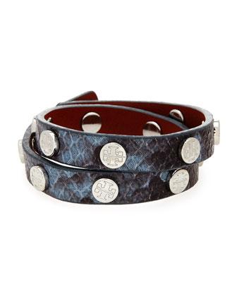 Snake-Print Leather Double-Wrap Bracelet