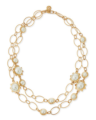 Gear-Bezel Pearl Station Necklace