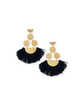 Fringe-Disc Statement Earrings, Blue