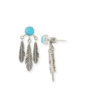 Frida Turquoise Feather Jacket Earrings