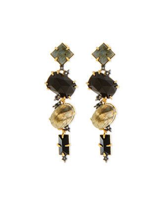 Elements Dangling Station Earrings, Black
