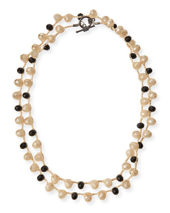 Black & Sand Crystal Long Necklace, 41