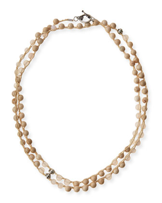 Pale & White Wood Agate Long Necklace, 40