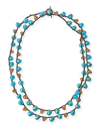Pacific & Smoke Crystal Long Necklace, 41