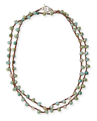 Striped Amazonite & Crystal Long Necklace, 41