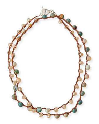 Amazonite & Crystal Long Necklace, 36