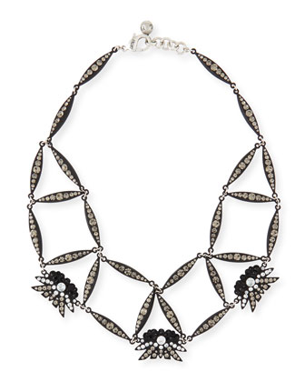 Larkspur Crystal Web Necklace, Black