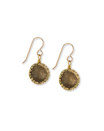 Druzy Round Drop Earrings, Dark Gray
