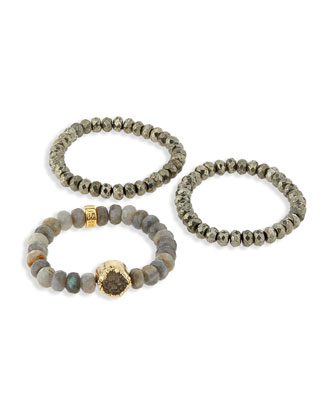 Labradorite and Pyrite Stretch Bracelets, Set of 3