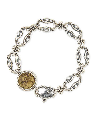Silver and Bronze Coin Link Bracelet