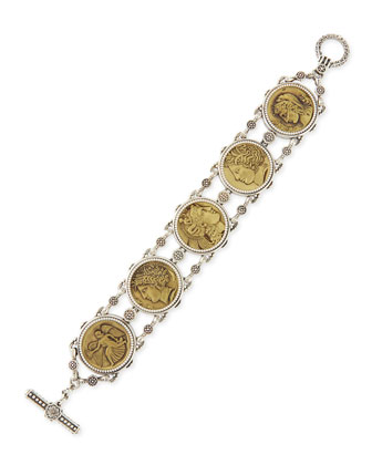 Silver and Bronze Coin Chain Bracelet