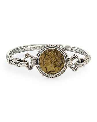 Eros Silver and Bronze Coin Bangle Bracelet
